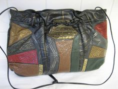 Vintage Carlos Falchi 1980's Black Leather Patchwork  by CLASSYBAG