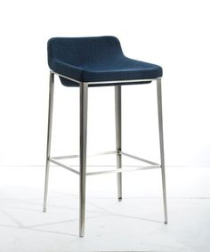 """Stylish Design Furniture - Modrest A105 Modern Blue Fabric Bar Stool, $200.00 W17"""" x D20"""" x H36"""" Seat Height: 30""""  Upholstered In Dark Blue Fabric Footrest Stainless Steel Legs 100% Polyester Fabric(http://www.stylishdesignfurniture.com/products/modrest-a105-modern-blue-fabric-bar-stool.html/)"""