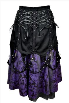 INDUSTRIAL GOTHIC DARK STAR BLACK ANGEL with PURPLE CORSET LONG FAE SKIRT 10 12 14 16 18