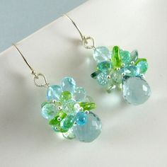 Blue Quartz Apatite Blue Topaz and Peridot Cluster by SurfAndSand, $139.00