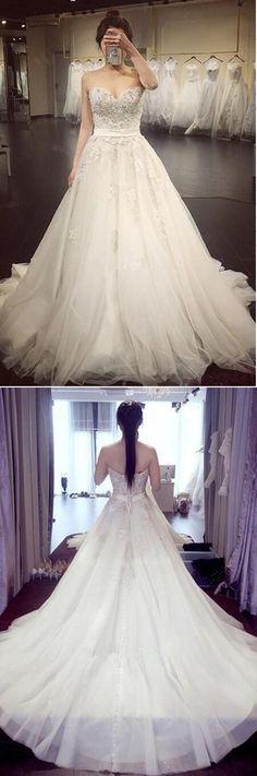 A Line Lace Crystal A line Wedding Dresses, 2017 Luxurious Long Custom Wedding Gowns, Affordable Bridal Dresses, 17112 #weddingdress