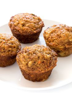 They are super easy to make and are perfectly tender and moist. Loaded with shredded carrots, apple, walnuts and coconut oil. The perfect healthy breakfast or snack! Healthy Breakfast Muffins, Healthy Muffin Recipes, Breakfast On The Go, Breakfast Bake, Healthy Snacks, Health Breakfast, Breakfast Dishes, Breakfast Casserole, Healthy Eating