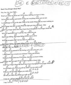 Don't You Forget About Me (Simple Minds) Guitar Chord Chart - http://www.youtube.com/munsonmusiclive