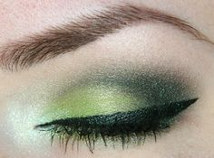 Too Faced Shadow Insurance  NYX Jumbo Eyeshadow Pencil - Milk  MADD Style Pigment - Ecto Cooler  Viva la Diva Domed Eyeshadow - Dark Green  MAD Minerals Multi Use Pigment - Whisper Green  MAD Minerals Indelible 3 In 1 Waterproof Liquid Eyeliner - Pay Day  Make Up Store Eye Pencil - Tropical  Maybelline Define-a-Line Volume  MAC Eyeshadow - Mystery (for eyebrows)