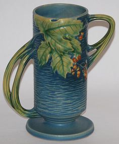 Roseville Pottery Bushberry Blue Vase from Just Art Pottery Rookwood Pottery, Roseville Pottery, Antique Pottery, Mccoy Pottery, Pottery Vase, Ceramic Pottery, Ceramic Art, Pottery Barn Wall Art, Hall Pottery