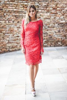 Perfect the smart casual look in a red lace sheath dress. This outfit is complemented perfectly with silver leather heeled sandals. Shop this look for $30: http://lookastic.com/women/looks/red-lace-sheath-dress-silver-leather-heeled-sandals/3045 — Red Lace Sheath Dress — Silver Leather Heeled Sandals