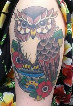 Owl on a Cup Tattoo