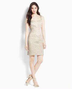 Textured Metallic Jacquard Dress