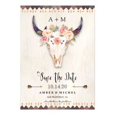 Boho Wedding Save the Dates Boho Floral Antler Tribal Cow Skull Save The Date Magnetic Card