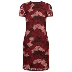 Burberry Floral Lace T-Shirt Dress ($1,430) ❤ liked on Polyvore featuring dresses, t-shirt dresses, lace cocktail dress, shift dress, red dress and t shirt dress