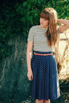 Trendy way to wear polka dots is to pair it with other types of prints - DesignerzCentral