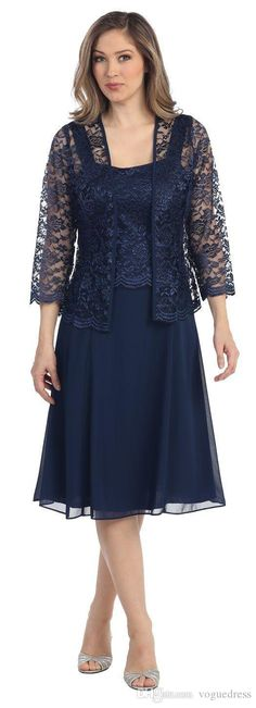 Fashion Sexy Navy Blue Mother Of The Bride Chiffon Dresses With Lace Jacket Long Sleeves Knee Length Plus Size Mother'S Day High Quality Mother Day Dresses Mother Dress Of The Bride From Voguedress, $95.51| Dhgate.Com