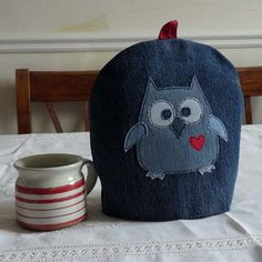Recycled Denim Owly Tea Cosy