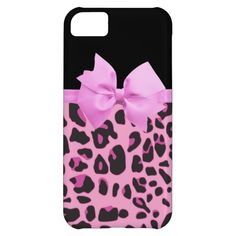Hipster Girly Pink Black Animal Print And Bow Case For iPhone 5C $39.95