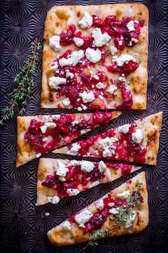 Roasted Cranberry and Goat Cheese Flatbread on HealthySeasonalRecipes.com by Katie Webster #ad