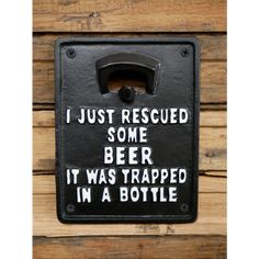 Thoughtful Gifts For Him, Man Cave Gifts, Bottle Sizes, Beer Lovers, Things To Buy, Cast Iron, Bottle Opener, Philosophy, Garage