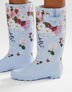 Image 1 of ASOS GARDEN Floral Wellies
