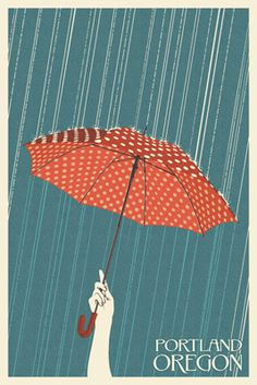Portland, Oregon - Umbrella - Letterpress - Lantern Press Poster