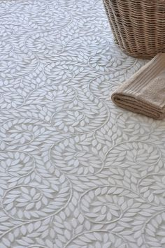 bathroom flooring Fabulous detail for bathroom floors! The graceful olive branch pattern is mesmerising as it is stunning. Room Tiles, Bathroom Floor Tiles, Tile Floor, Bathroom Fixtures, Bathroom Cabinets, Mosaic Floors, Shower Bathroom, Epoxy Floor, Floor Design