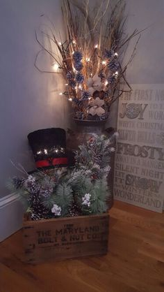 Milk can/old crate Christmas decor