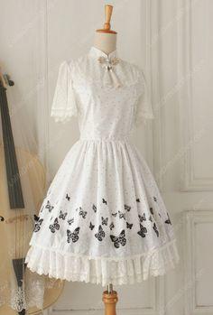 Cheap Lolita Cotton Vintage Chinese Butterfly Flounced Stand Collar OP Dress Sale At Lolita Dresses Online Shop