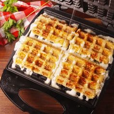 Mozzarella Stick Waffles - Waffle Maker - Ideas of Waffle Maker #WaffleMaker -  Imagine mozzarella sticks but with crispy waffled nooks and crannies. Get the recipe at Delish.com. #delish #easy #recipe #stringcheese