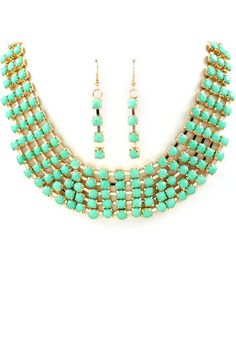 Mint color necklace and earrings
