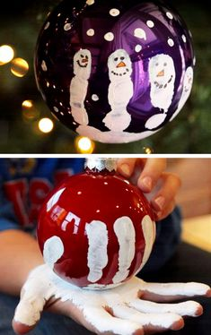 DIY Christmas ornament ball ornaments with kids handprints as snowman - cute and easy Christmas craft for kids
