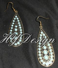 Earrings, Antique Gold, Turquoise. #HYD