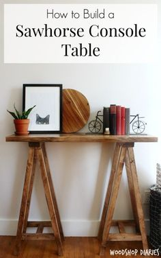How to build a simple modern DIY sawhorse console table--minwax special walnut