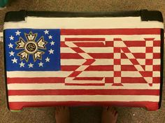 Sigma nu ΣΝ red white and blue crest flag American flag cooler side