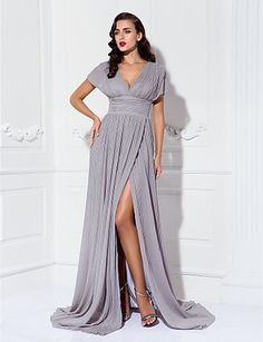 Long Silver Chiffon Dress @ Mother of the Bride / Groom Dresses Blog