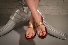 red gold sandals