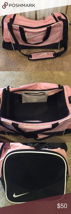 ‼️Large Nike Duffle Bag, lowest price‼️ Can be used for the gym or travel. Lots of room and clean on the inside of the bag. There are pockets on each end of the bag that are slightly dirty from placing liquids in them but can be washed. Color is light pink. Has an adjustable strap! Nike Bags