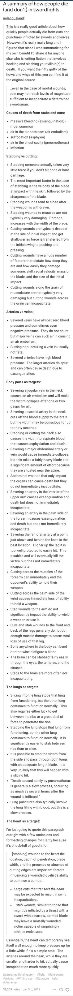 Really informative list about stab wounds. Basically everything you need to know about them. Read away!: