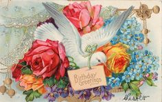 Dove with Roses and Forget Me Nots Original Vintage Postcard | eBay
