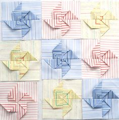 Use stripes for pinwheels and solid background all over? Patchwork Quilting, 3d Quilts, Quilting Board, Quilting Tutorials, Quilting Designs, Quilting Ideas, Quilt Block Patterns, Quilt Blocks, Origami Quilt