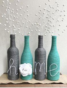 Wrapped Wine Bottles / Wine bottle decor / Home wine bottles / yarn wrapped / wine / Country Style / Farmhouse Style / custom decor Wrapped Wine Bottles, Wine Bottle Corks, Glass Bottle Crafts, Diy Bottle, Bottle Art, Beer Bottles, Diy Home Crafts, Diy Arts And Crafts, Jar Crafts