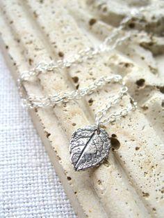 Silver Rose Leaf Necklace, Sterling Silver Leaf Necklace by MySweetNomsa, $25.00