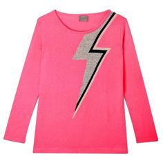 Bowie Sweater In Bright Pink (330 CAD) ❤ liked on Polyvore featuring tops, sweaters, pink crew neck sweater, pink oversized sweater, bright pink top, oversized crew neck sweater and neon pink sweater
