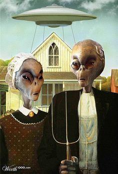 """E.T et Cie s'insinuent partout même dans nos tableaux... / Parodie de """"American gothic"""". / By Le blog de sixfrancs 21."""