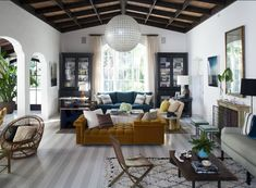 Love the ceiling and the yellow lounge sofa - Room by Nate Berkus Design