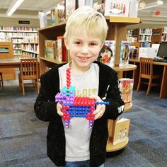 "Jamie built a dog w/ the ""Playstix"" we have here at the library!"