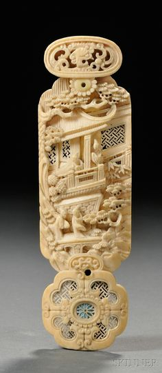 19 TH..CHINESE IVORY PLAQUE...... ...PARTAGE OF CURIEUSE CHINE....