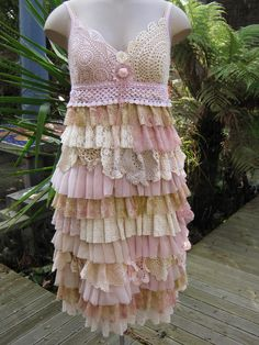 reserved for 4809CATS..........VINTAGE KITTY... ROMANTIC SLIP DRESS, DUSKY PINK, ECRU, CREAM, OLD GOLD.. WEDDING, PARTY,.. SIZE MED - LARGE. $135.00, via Etsy.