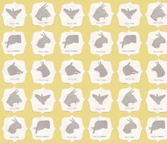 Hand Shadow Animals in Yellow fabric by sparegus on Spoonflower - custom fabric