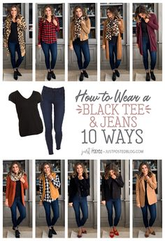 How to Style a Black tee and Jeans 10 Different Ways - Perfect for a Capsule Wardrobe! How to Style a Black tee and Jeans 10 Different Ways - Perfect for a Capsule Wardrobe! Black Women Fashion, Fashion Tips For Women, Look Fashion, Winter Fashion, Korean Fashion, Mode Outfits, Fall Outfits, Casual Outfits, Fashion Outfits