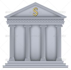 Roman or Greek Temple Bank Symbol
