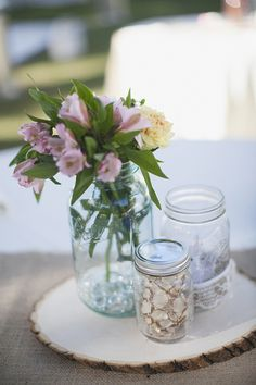simple mason jars for wedding table decor. Love blue mason jars