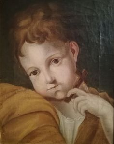 Antique French Religious Oil Painting on Canvas Portrait of Child 19thC